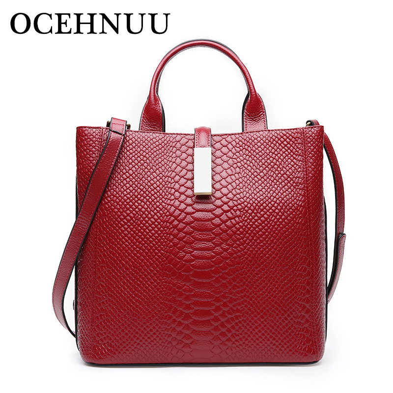 где купить OCEHNUU Genuine Leather Serpentine Bag Female Leather Luxury Handbags Women Bags Designer Bolsa Feminina Ladies Shoulder Bags по лучшей цене