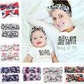 16 Cores 2017 Nova Mãe e Me Headband Com Malha de Algodão Do Bebê Mommy and me menina Headband Headbands Foto Prop Conjunto Mãe e Do Bebê