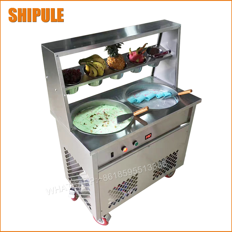 35*35cm Round Pan Fried Ice Cream machine;Fry Ice Cream Roll Maker For Yogurt with double compressor double control