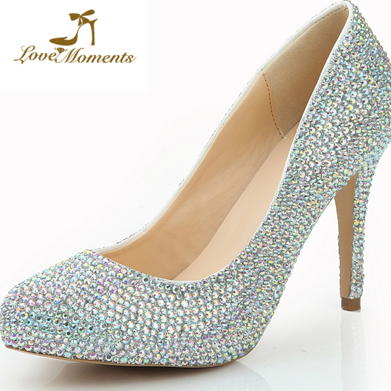 Dazzling Rhinestone Wedding Formal Dress Shoes Nightclub Banquet Lady Shoes AB Crystal Heel Shoes 4 Inches Cinderella Prom Pumps cinderella high heels crystal wedding shoes 14cm thin heel rhinestone bridal shoes round toe formal occasion prom shoes