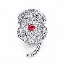 2″ White Gold Tone Clear CZ Rhinestone Crystal Diamante Sparkly Poppy Brooch