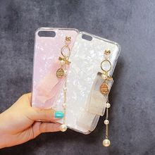For OPPO R9 R9S R11 R11S plus New arrival Fresh Cute Girls Jacobs pearl tassel shell soft silicone phone case cover