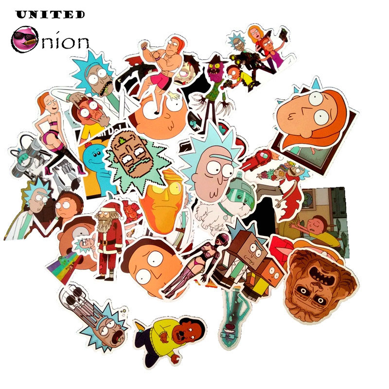 TOP 35-110pcs/lot Stickers rick and morty drama decal doodle Graffiti toys For suitcase cool laptop Moto car Skateboard sticker emblem