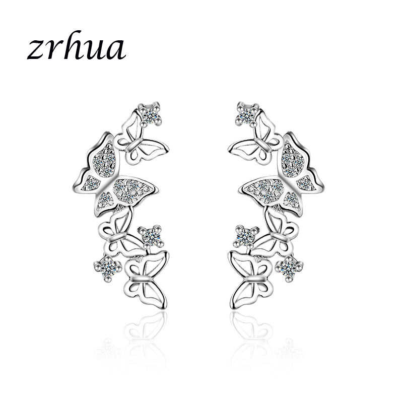 ZRHUA Precious 925 Silver/Gold Color Butterfly Stud Earrings for Women Girls Concise Jewelry Accessories Gift Engagement Bijoux