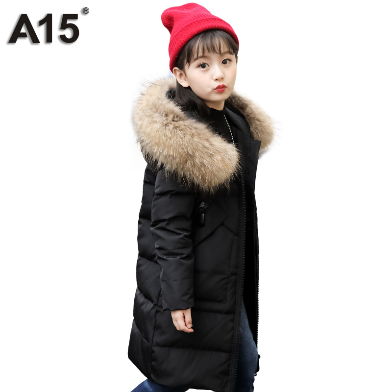 A15 Girls Down Jacket 2017 New Cold Winter Thick Fur Hooded Long Parkas Big Girl Down Jakcet Coat Teens Outerwear Overcoat 12 14