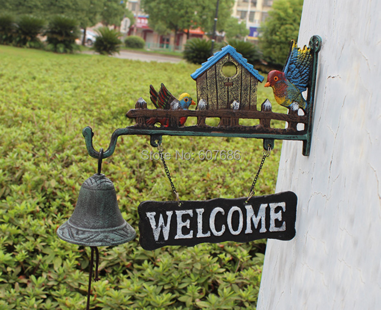 cast iron wild birds welcome dinner bell hanging sign