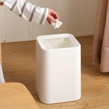 Белый мусорный бак Современный стиль площади Бумага корзина Пластик без крышки мусорный бак PP + ABS двойной слой стоя отходов бункеров жизни