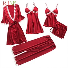 eca35082085b (Ship from US) Women Sleepwear 5PC Pajama Sets Plus Size 5XL Sexy Lace  Satin Nightwear Babydoll Lingerie Intimate Ladies pijama mujer 18Jan12