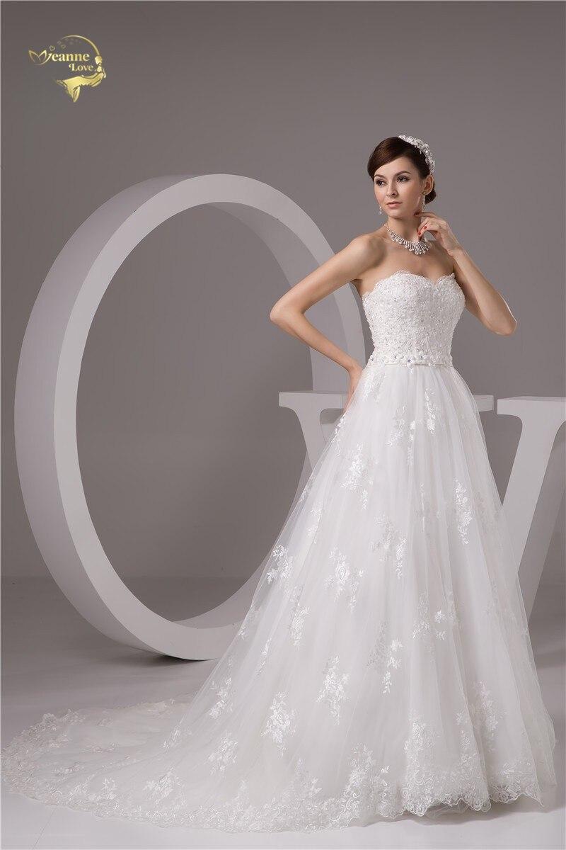 2016 Wit / Ivoor Luxe Vestido De Noiva Robe De Mariage Bridal Een - Trouwjurken - Foto 4