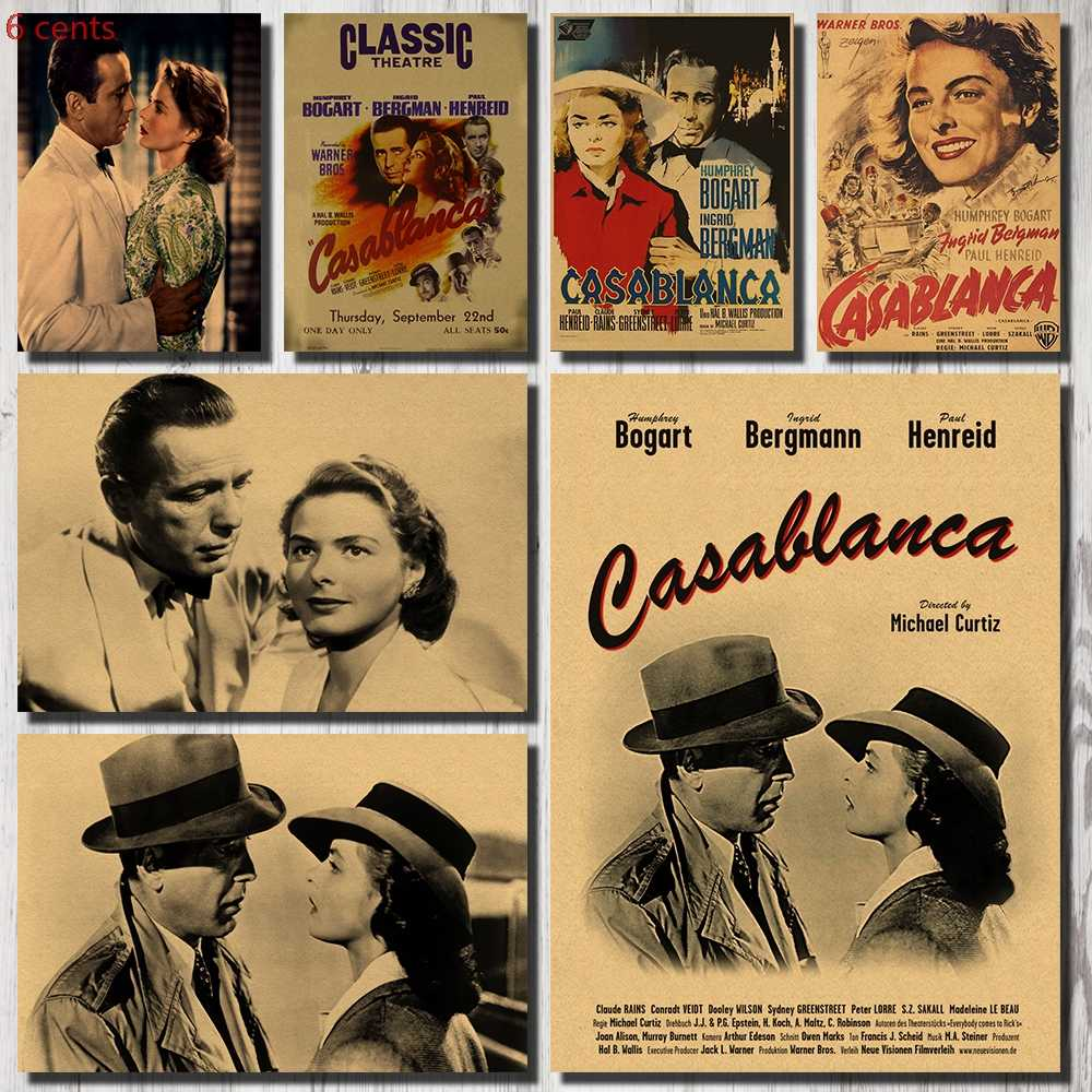 Casablanca Movie Poster, Decorative Sticker, Kraft Paper Poster, Wall Sticker, Vintage Wall Sticker, Movie Wall Sticker