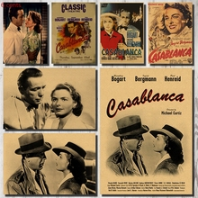 Casablanca Movie Poster, Decorative Sticker, Kraft Paper Wall Vintage Sticker