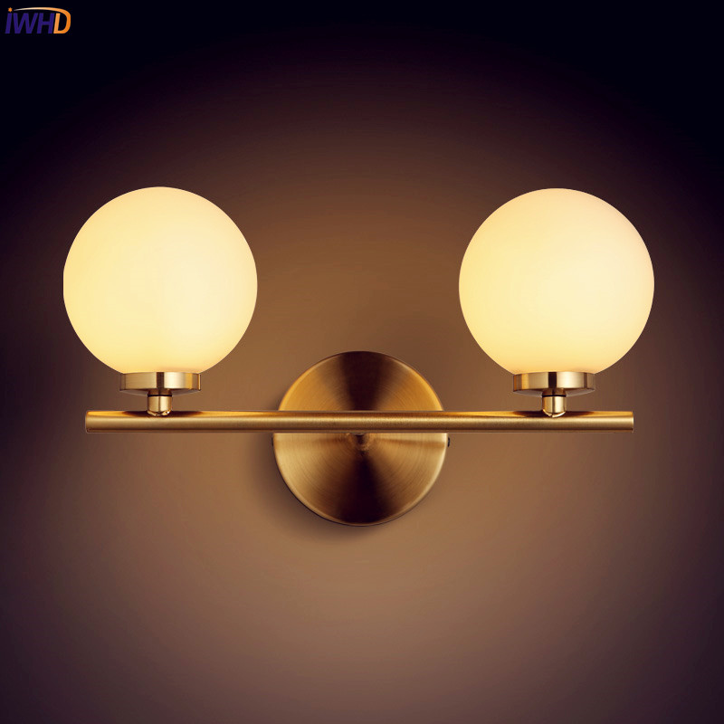 IWHD Nordic Golden LED Wall Lights For Home Lighting Bedroom Glass Ball Beside Lamp Wall Sconce Luminaire Apliques ParedIWHD Nordic Golden LED Wall Lights For Home Lighting Bedroom Glass Ball Beside Lamp Wall Sconce Luminaire Apliques Pared