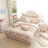 Оборками кружева роскошные постельные наборы 100% хлопок полный queen King Размеры принцесса кровать 4/7 шт. пододеяльник + Bedskirt + наволочки