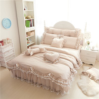 Ruffles Lace Luxury Bedding Sets 100% Cotton Full Queen King Size Princess Bed Set 4/7pcs Duvet Cover+Bedskirt+pillowcases