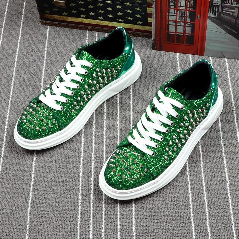 Personalidade Da Moda Masculina Festa Tênis Noite Sapatos Vermelhos Verdes vermelho Punk Cuddlyiipanda Verão Outono Homens verde Clube Preto De Rebites qxw1zAngS