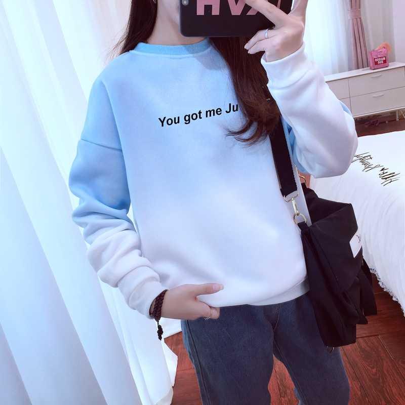 K-pop Donne Harajuku Felpe Lettere Casual Kpop Si Mi Ha Fatto Jungshook Sfumatura di Colore Felpa Autunno Inverno Pullover