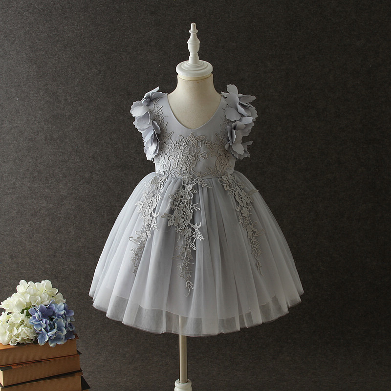 Girls Dresses For Kids Costume Fuff Sleeve Toddler Wedding Dress Princess Birthday Party Dress Children Clothing 3-12Y 1