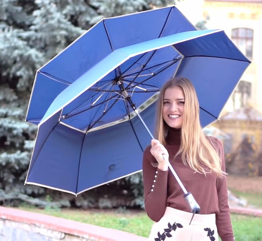 112cm synlig dobbeltlag to brett automatisk åpent golfparaplyer heksevinklet 70T stål dobbeltbro fiberglass vindtett parasoll