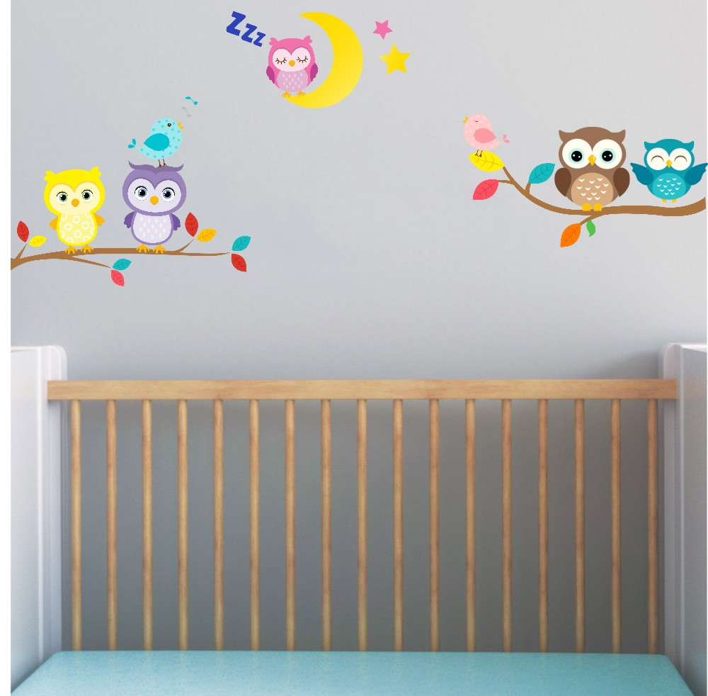 5x cute owl on branch and moon with birds wall stickers baby ...