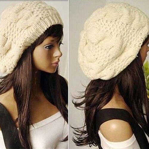 Women Sweet Crochet Warm Solid Color Beret Artist Baggy Beanie Winter Hat Gift
