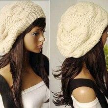 Mulheres Doce Crochet Baggy Beanie Chapéu de Inverno Quente Cor Sólida Boina  Artista Presente(China 454461de7ae