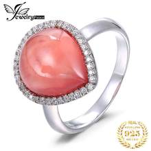 5.9ct Natural Red Argentine Rhodochrosite GemStone Rings Famous Designer Jewelry For Women Real Pure Solid 925 Sterling Silver(China)