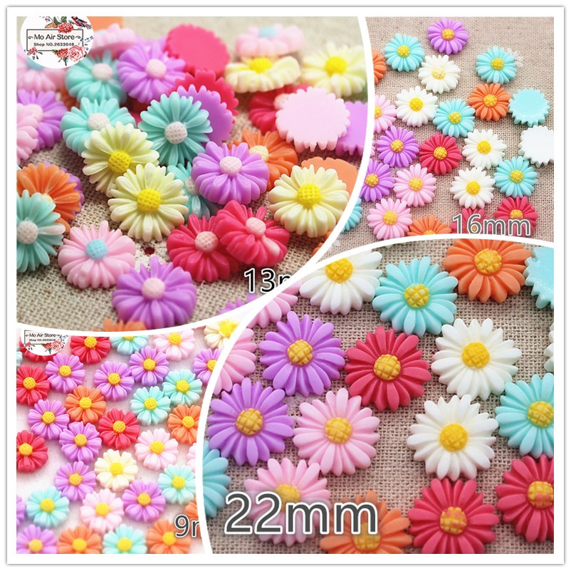 9/13/16/22/26mm Mixed Color Flower Daisy Resin Flatback Cabochon DIY Jewelry Phone Decoration No Hole