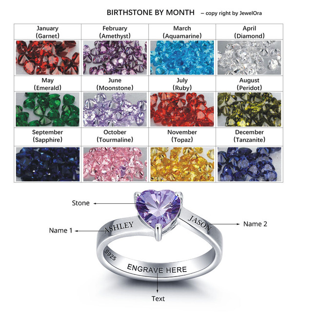 Personalised Couples Heart Birthstone Ring 925 Sterling Silver