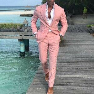 Image 3 - 2018 최신 코트 바지 디자인 여름 해변 남자 정장 핑크 정장 웨딩 공 슬림 맞는 신랑 최고의 남자 남성 정장 2 조각