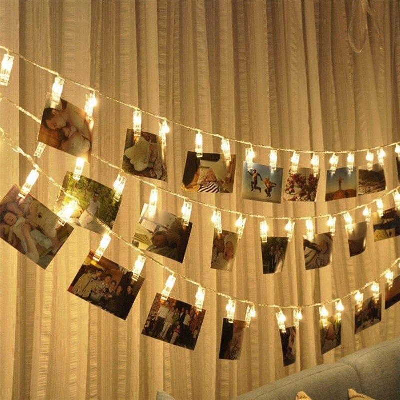20 LED Garland Card Photo Clip Led String Fairy Lights Christmas Garlands Wedding Valentines Decoration EU/US Plug