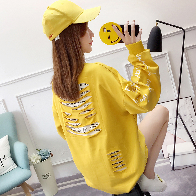 Hoodies Women 2020 New Hole Long Trendy Letter Loose Harajuku Pullovers Student Elegant Korean BF All-match Womens Sweatshirt