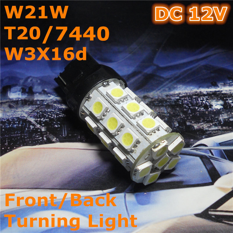 12V LED(27*5050SMD) Car Bulb Lamp W21W T20 W3X16d/7440 Single Line For Front Back Turning Light Back Foglight image