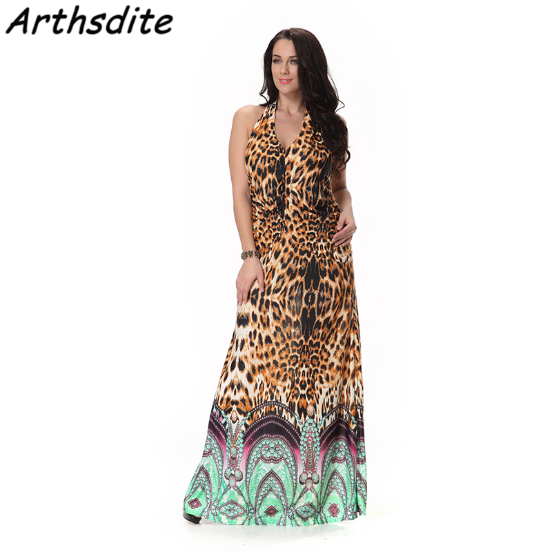 Leopard Women Plus Size 6XL 7XL Sleeveless V Neck Retro Dress Elegant Floor Length Swing Dress