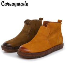 Careaymade-Handmade Genuine leather Customized Womans Shoes with Round Head Comfortable Transparent Bottom Wear-resistant boots