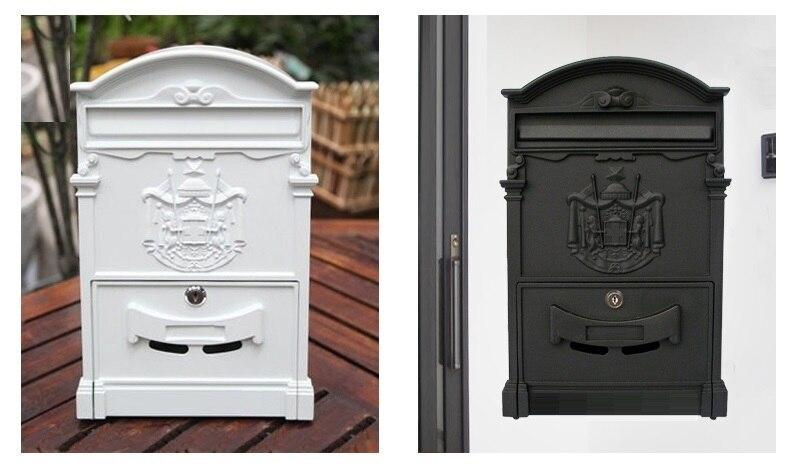 European style iron letter box blue green gold black white color gate factory villa Apartment letter magazine newspaper box