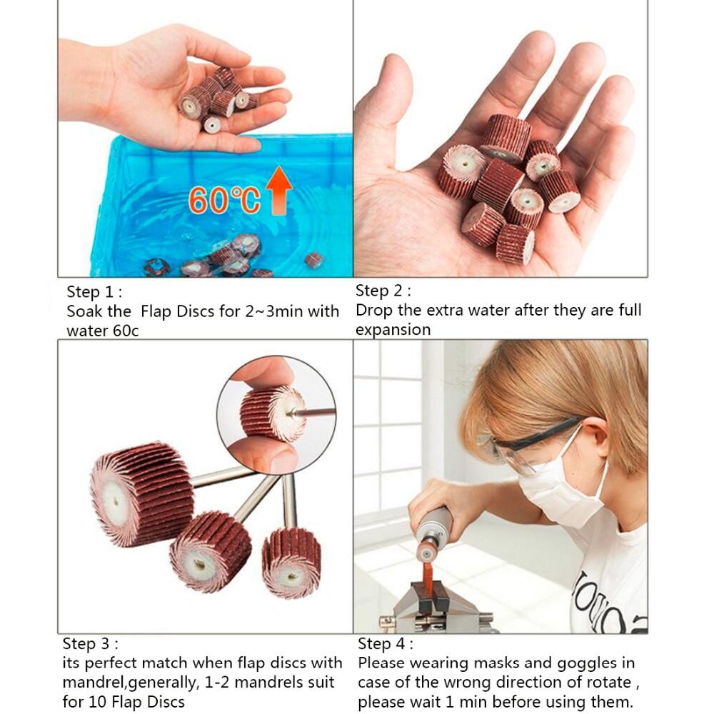 10pcs+1 10-12mm Sanding Flap Disc Grinding Flap Wheels Brush Sand Dremel Accessories For Abrasive Grinder Rotary Dremel Tools