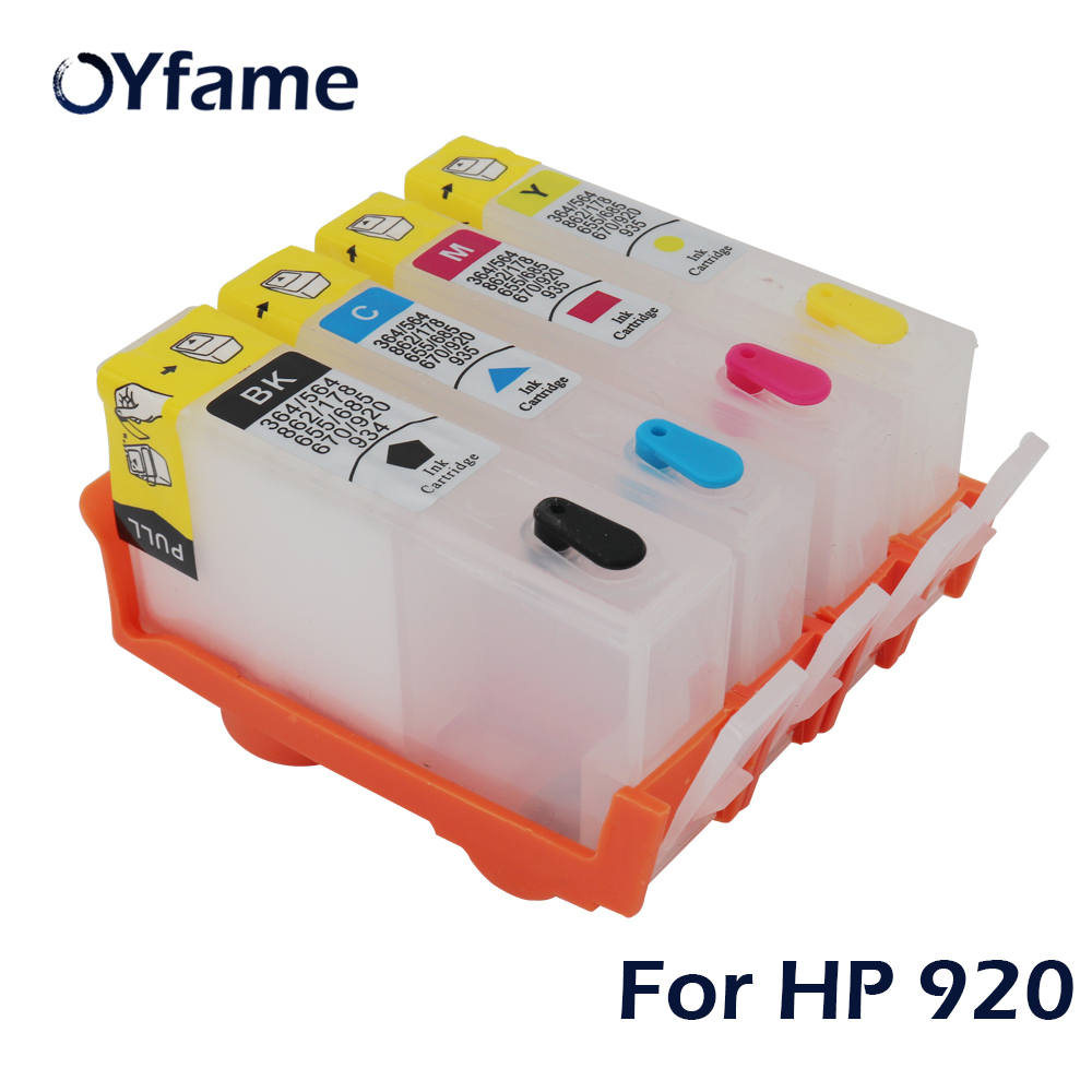 OYfame 4PCS Refillable Ink Cartridge for HP920 for <font><b>HP</b></font> 920 XL Inkjet Officejet 6000 <font><b>6500</b></font> 6500A 7000 7500 <font><b>Printer</b></font> With reset Chip image