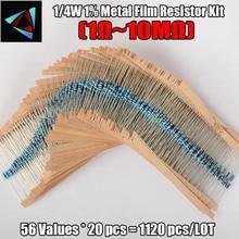 1120 Pcs 0.25W 56 Waarden 1/4W 1% 1 10M Ohm Metal Film Weerstand Diverse kit Set