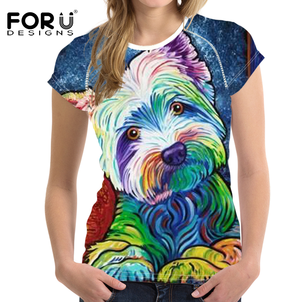 FORUDESIGNS Woman Tops T-shirt Bright Yorkshire Bulldog 3D Short Sleeved Cute T Shirts For Girls Womens Slim Feminine Clothes