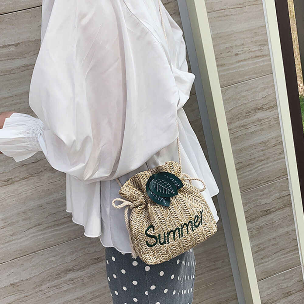 2019 Terbaru Hot Musim Panas Wanita Ember Tas Tangan Tas Totes Wanita Gadis BoHo Pantai Jerami Musim Panas Bunga Tas Keranjang Anyaman Liburan tote
