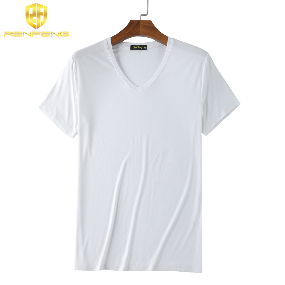 Man\`s Clothes breathable Bamboo Fiber Short Sleeve Tank Night Shirts Undershirt Underwear Mens V-neck Under shirt Man 4 colors (2)