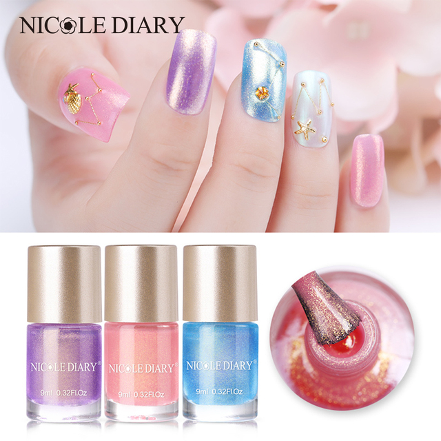 Nicole Diary 9ml Nail Polish Water Based Pearl Mermaid Series Design