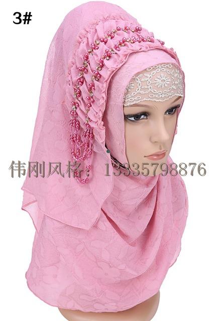 Diseño de moda de alta calidad de gasa bordado Turco abalorios estilo istamic velo hijab musulmán hijab para las mujeres 8 colores