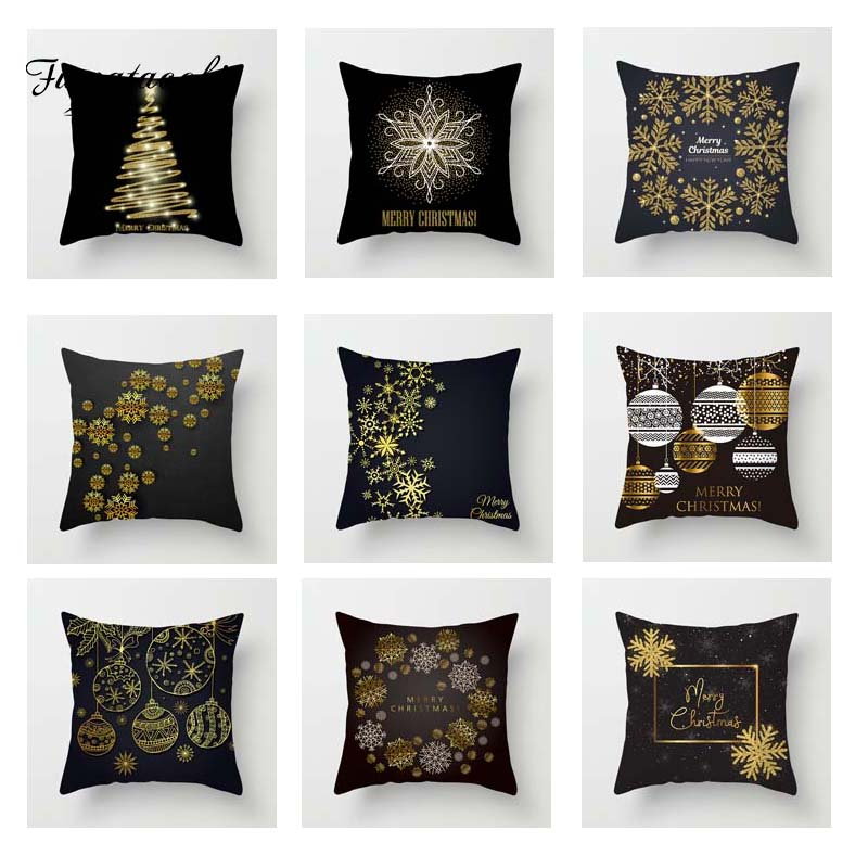 Fuwatacchi Xmas Golden Black Cushion Cover Stars  Soft Throw Pillow Decorative Sofa Case Pillowcase