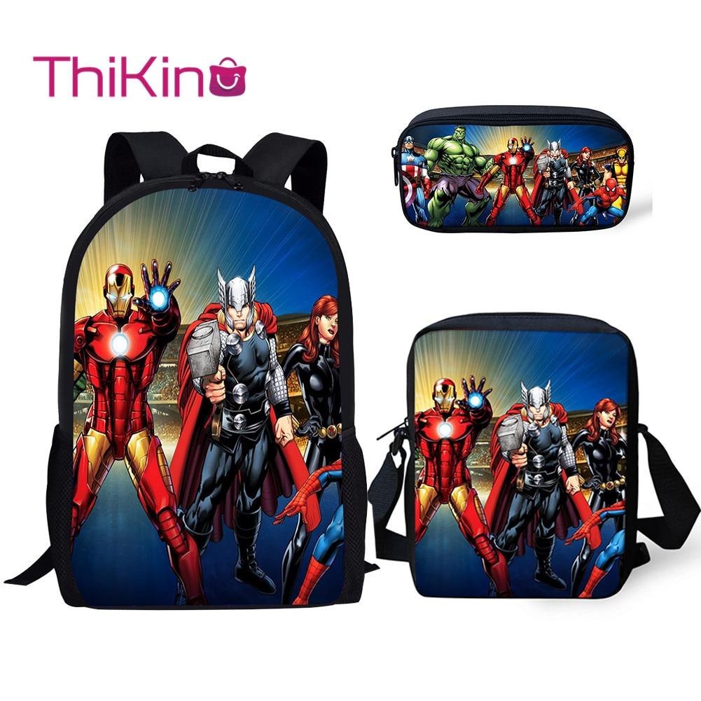Thikin Avengers Marvel Hero 3Pcs/set Book Bags Children School Bag for Boys Backpack Teen Girls Kids
