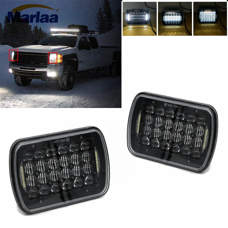 2Pcs 5 x 7 6x7inch LED Headlights for Wrangler YJ Cherokee XJ Trucks 4X4 Offroad Headlamp Replacement H6054 H5054 H6054LL 6982 5 x 7 6x7inch rectangular led headlights for jeep wrangler yj cherokee xj trucks 4x4 offroad headlamp replacement h6054 h5054