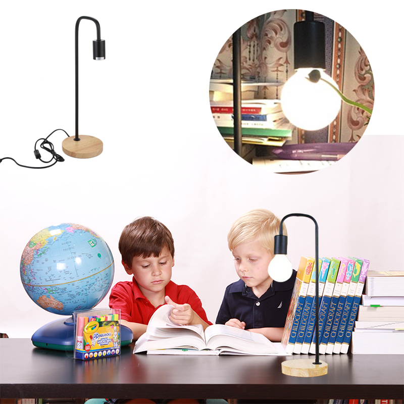 Wooden Base Table Lamp Desk Lights Study Lighting Eye Protection US Plug E27 40W New Year Decoration