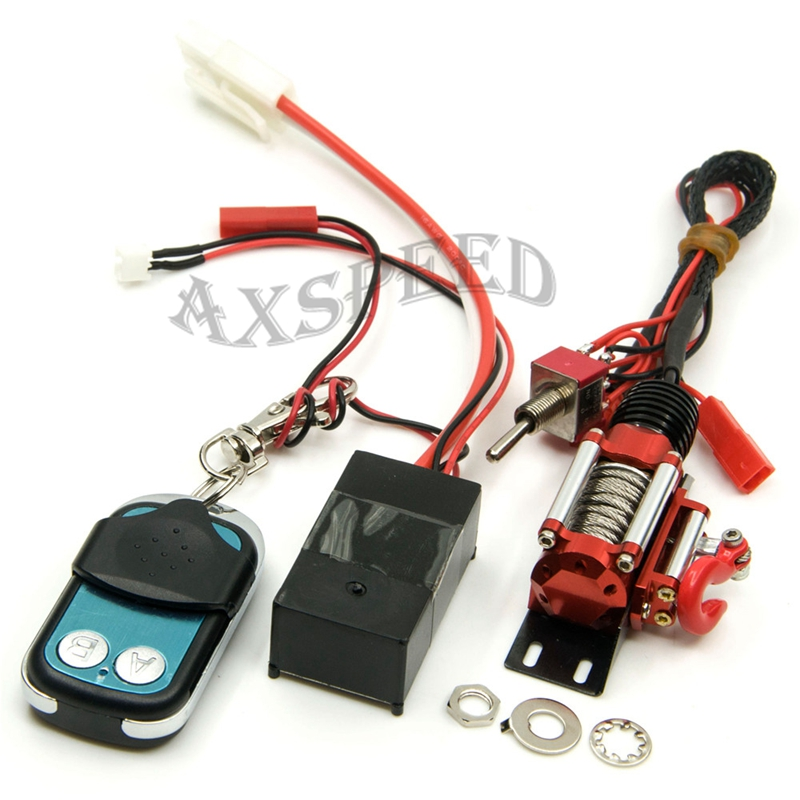 AXSPEED RC Steel Wired Automatic Crawler Winch Control System + Wireless Remote Receiver rc crawler metal winch   wireless remote
