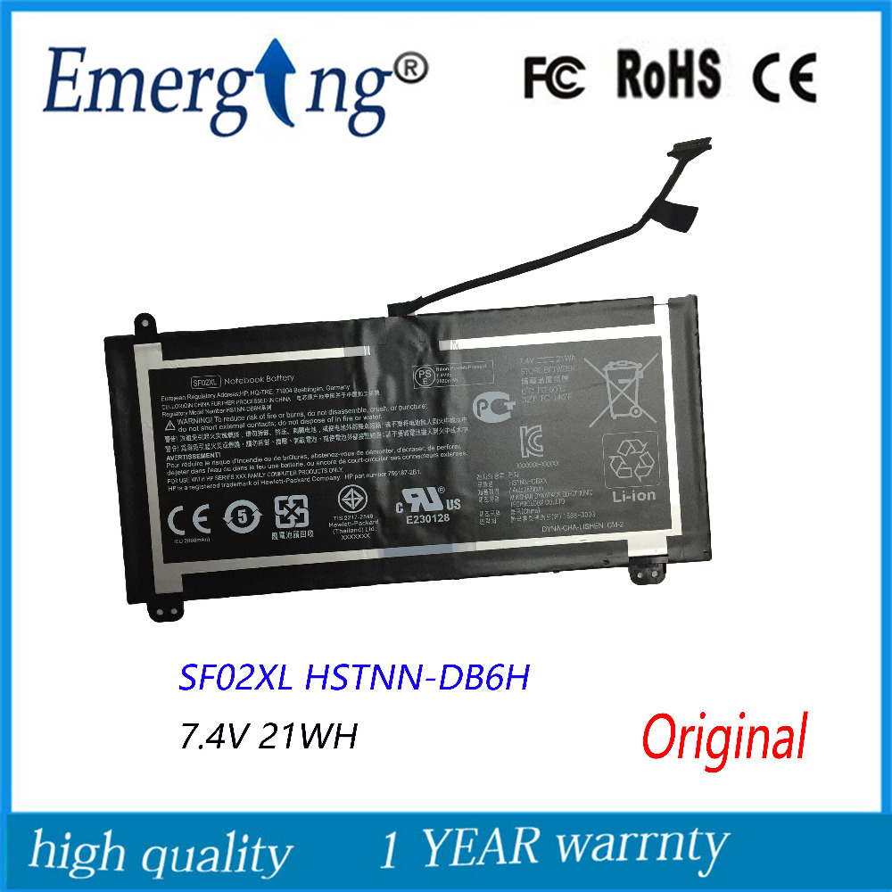 7.2V 21WH New Original Laptop Battery for HP SF02XL HSTNN-DB6H new original 7 4v 21wh da02xl battery for hp tpn p104 664399 1c1 hstnn ib4c 694502 001 free shipping