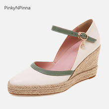 Cute women preppy style super high wedges pumps pointed toe hemp platform heels handmade retro casual party shoes big size 43 недорго, оригинальная цена